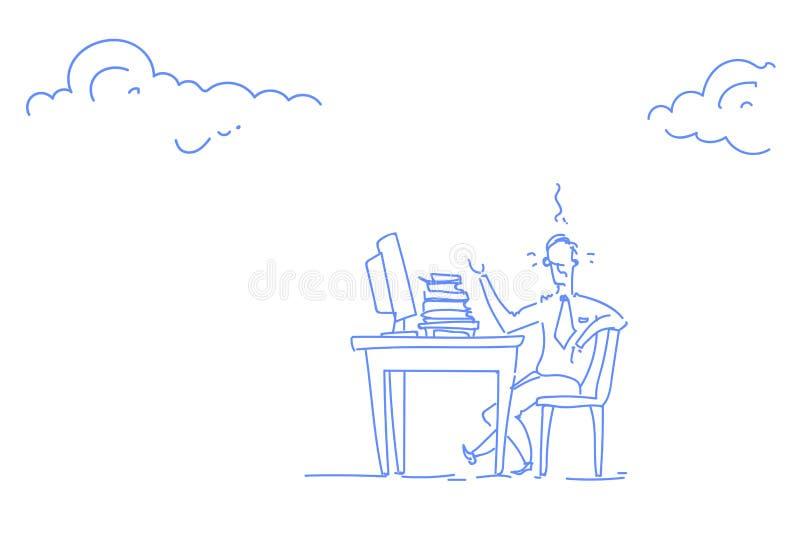 Garabato horizontal del bosquejo del lugar de trabajo trabajador del ordenador de proceso de la oficina del escritorio del hombre ilustración del vector
