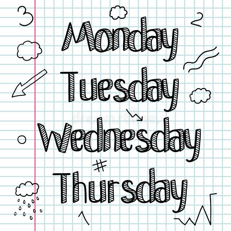 Garabato incompleto Un sistema de las muestras, palabras, días de la semana Gráfico de la mano Barra Dibujo lineal Letras del gar ilustración del vector