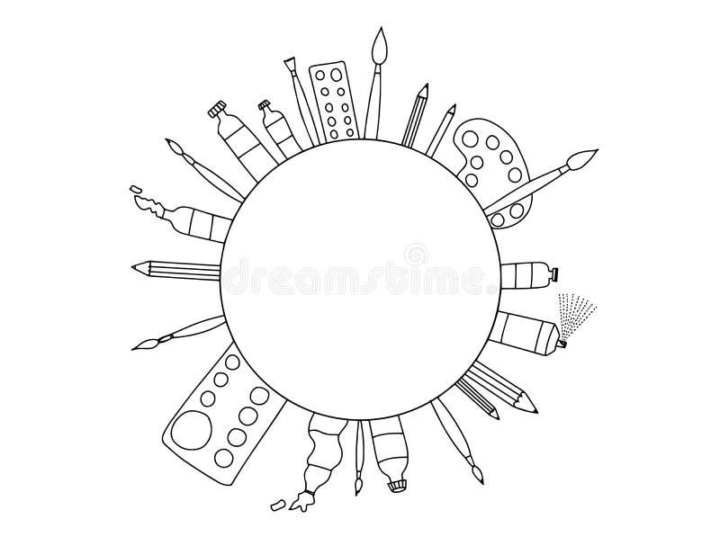 Garabato inmóvil de la bella arte blanco y negro ilustración del vector