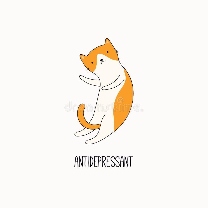 Garabato lindo del gato con cita ilustración del vector