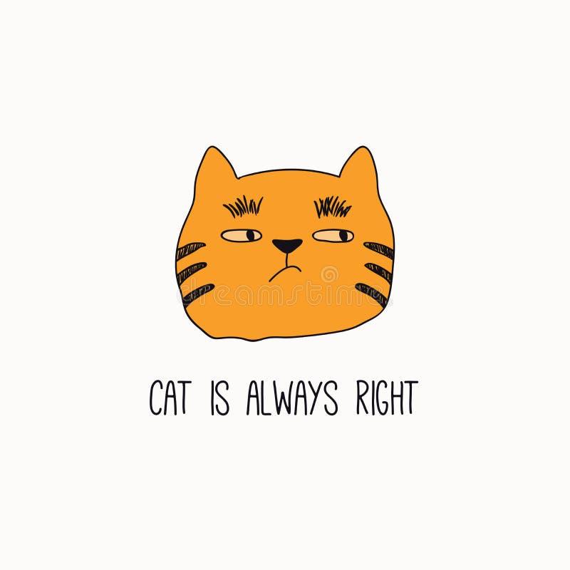 Garabato lindo del gato con cita stock de ilustración