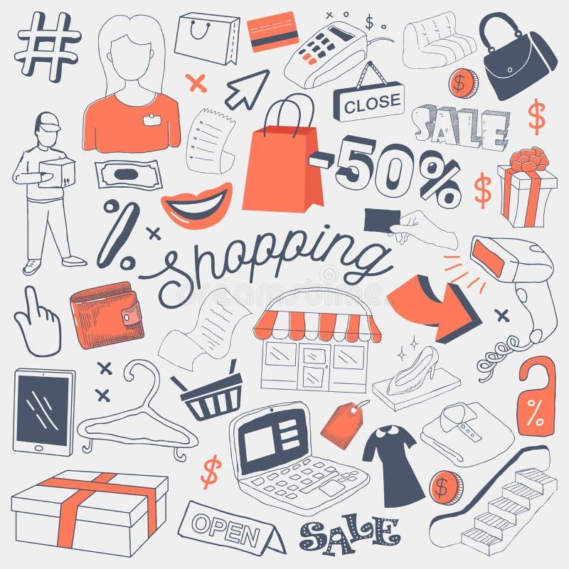 Garabato a pulso de la venta de las compras con ropa, los accesorios y el dinero Sistema de elementos dibujado mano del descuento ilustración del vector