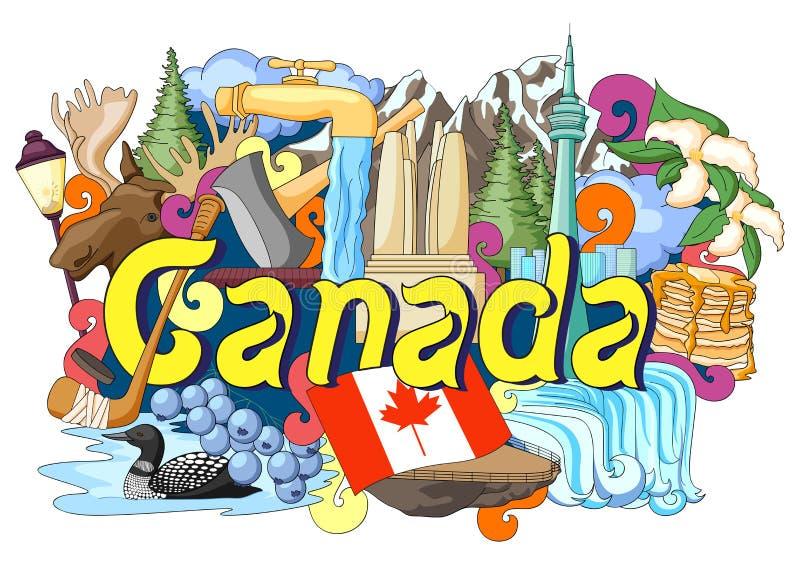 Garabato que muestra arquitectura y la cultura de Canadá stock de ilustración