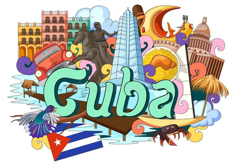 Garabato que muestra arquitectura y la cultura de Cuba stock de ilustración