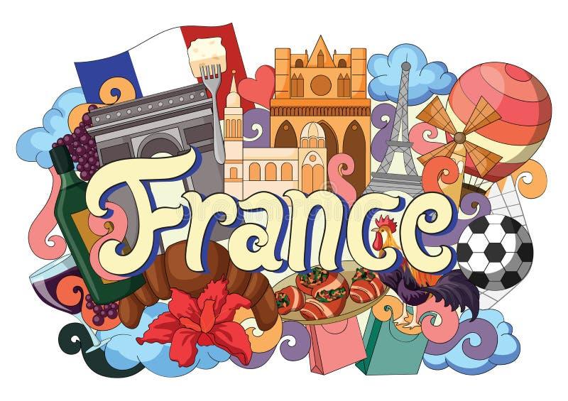 Garabato que muestra arquitectura y la cultura de Francia stock de ilustración