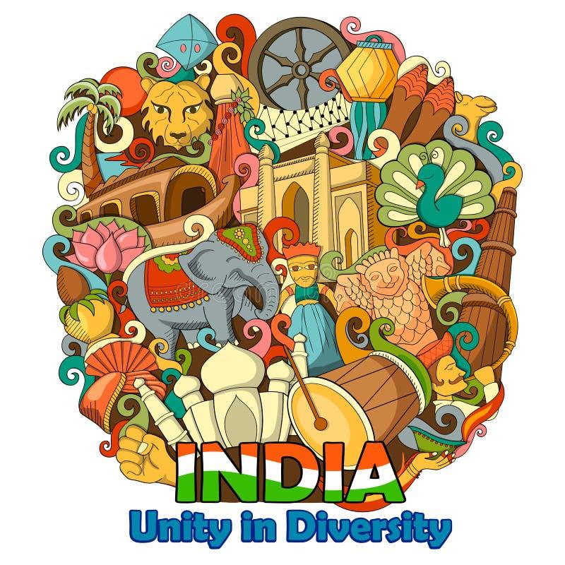 Garabato que muestra arquitectura y la cultura de la India libre illustration