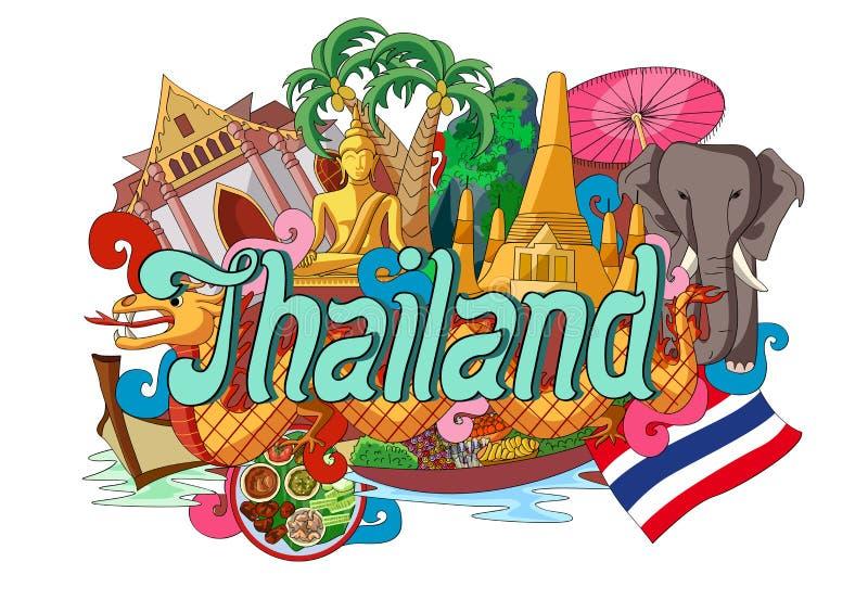 Garabato que muestra arquitectura y la cultura de Tailandia libre illustration