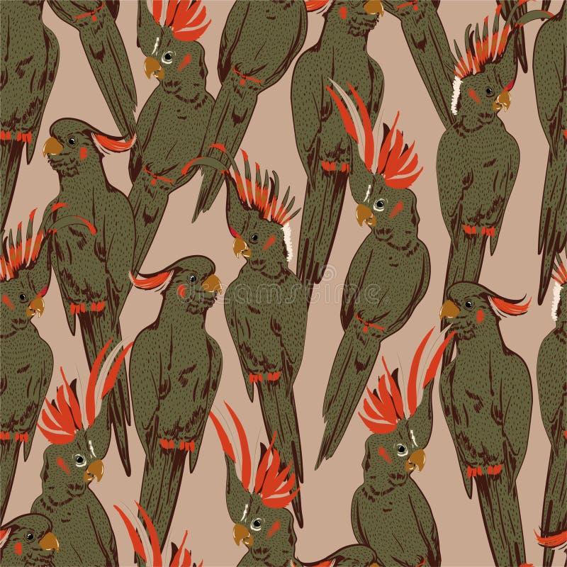 Garabato retro elegante del bosquejo de la mano del humor del modelo inconsútil de cacatúa de los pájaros amarillos del loro en e ilustración del vector