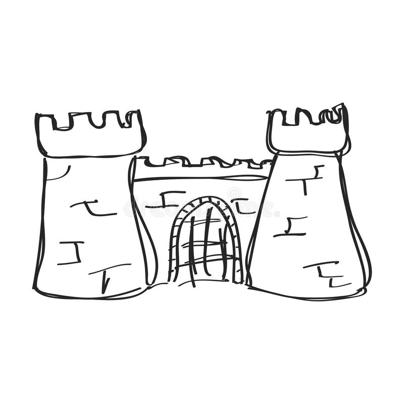 Garabato simple de un castillo libre illustration