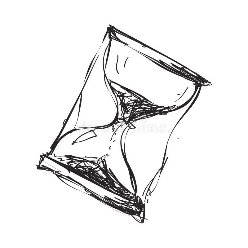 Garabato simple de un reloj de arena stock de ilustración