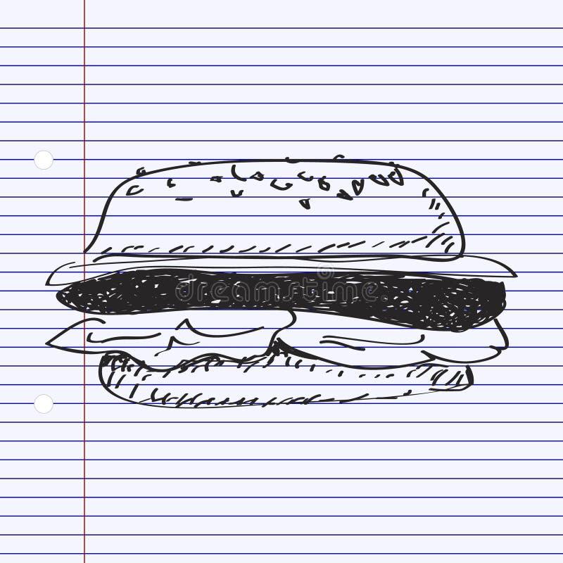 Garabato simple de una hamburguesa ilustración del vector