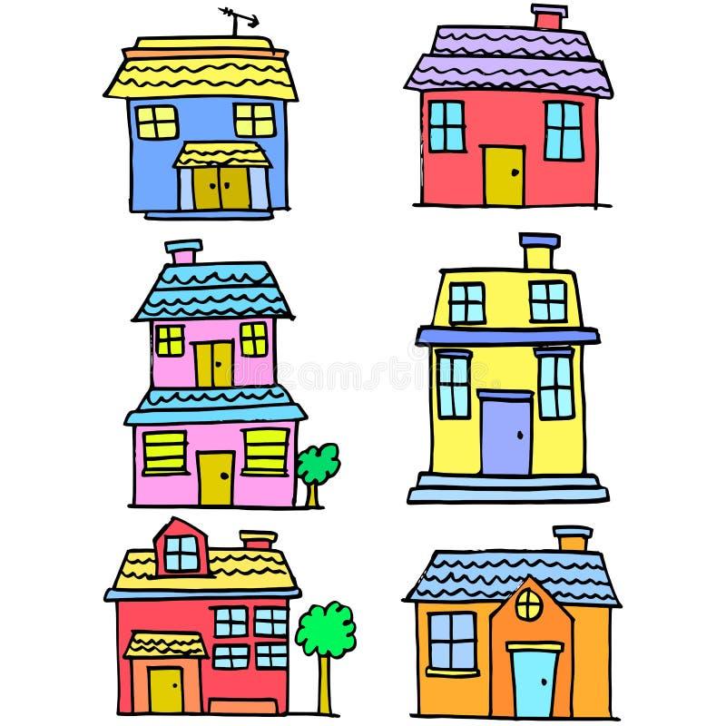 Garabato sistema del estilo de la casa del diverso ilustración del vector