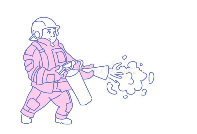 Garabato uniforme del bosquejo del bombero del hombre del casco del rojo del extintor del control del bombero que lleva horizonta ilustración del vector