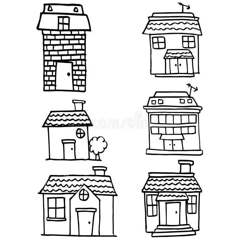 Garabato vector del sistema de la casa del diverso ilustración del vector