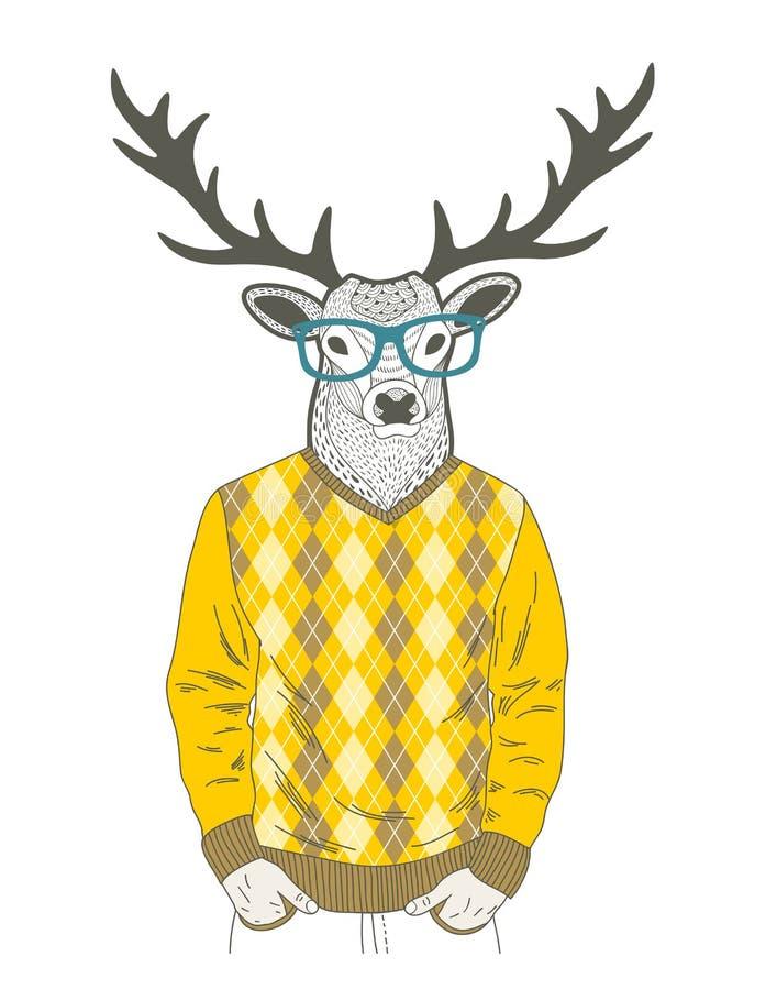 Garabato vestido encima de ciervos en estilo del inconformista libre illustration