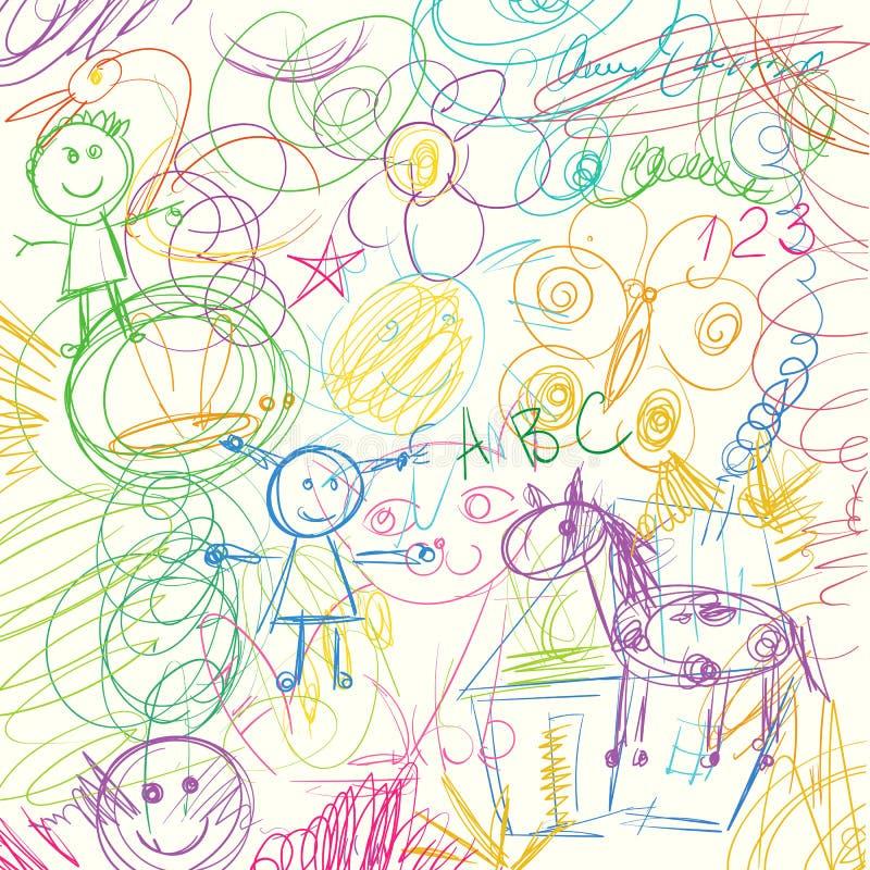 Garabatos coloreados de los lápices hechos por un niño ilustración del vector
