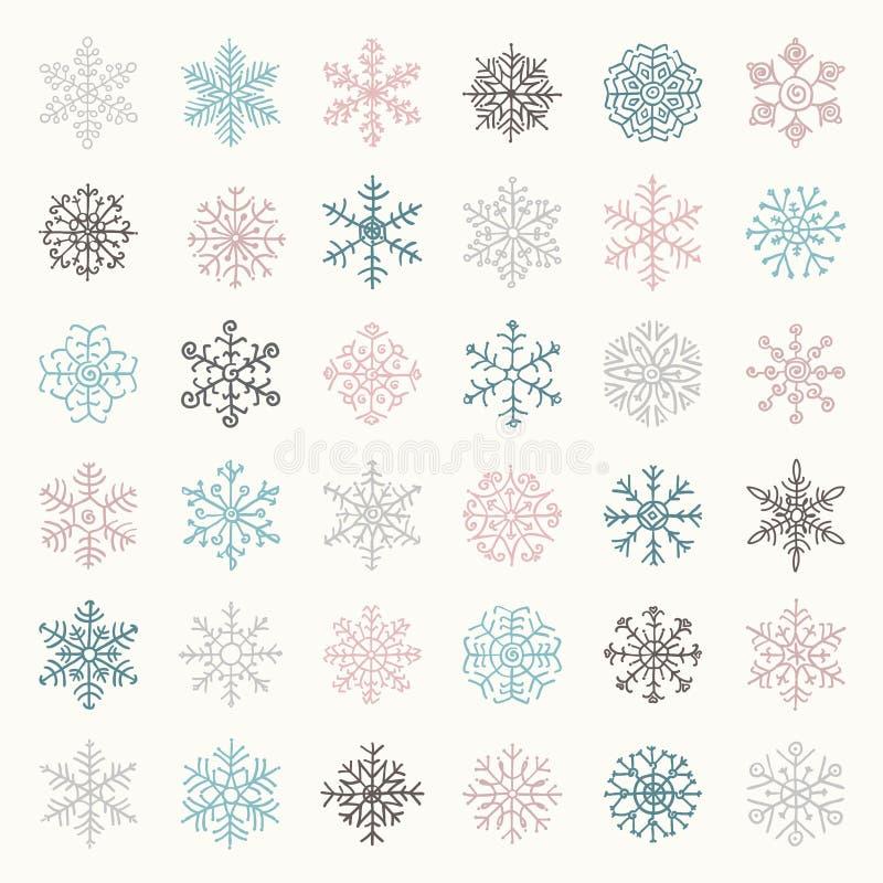 Garabatos coloridos de las escamas de la nieve del invierno Ilustración del vector libre illustration