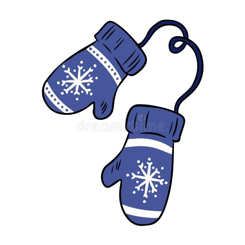 Garabatos coloridos del invierno del hygge acogedor de las manoplas de la historieta ilustración del vector