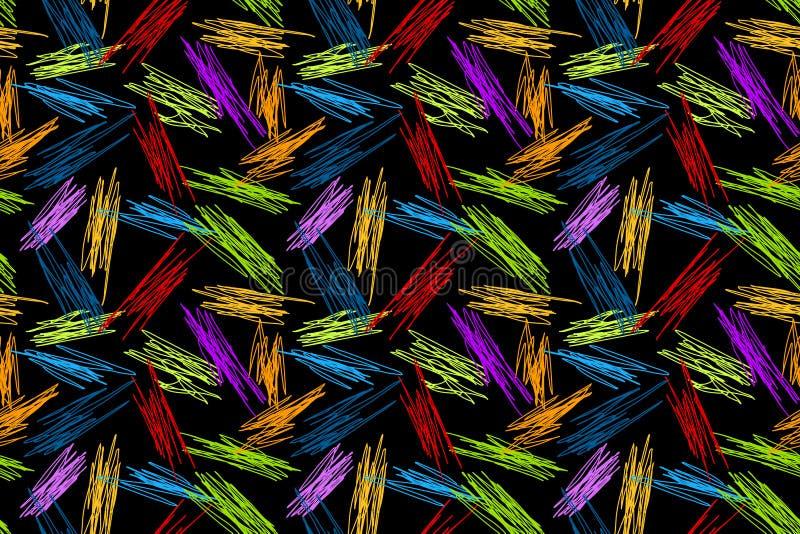 Garabatos coloridos en modelo inconsútil de la pizarra stock de ilustración