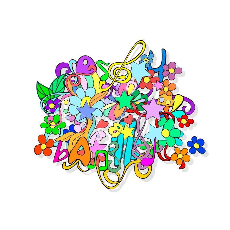 Garabatos con las flores y remolino ilustración del vector