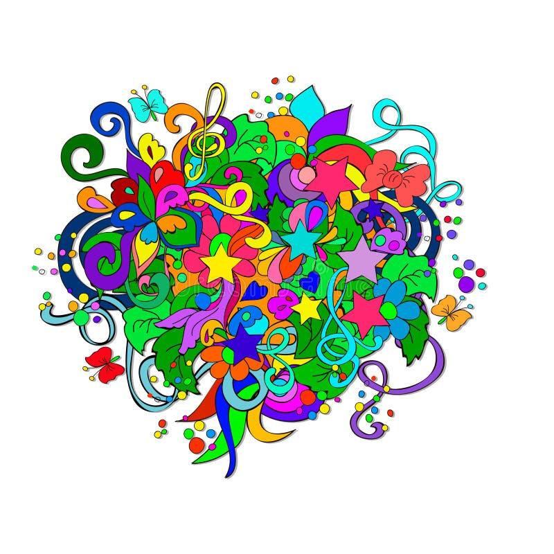 Garabatos con las flores y remolino libre illustration