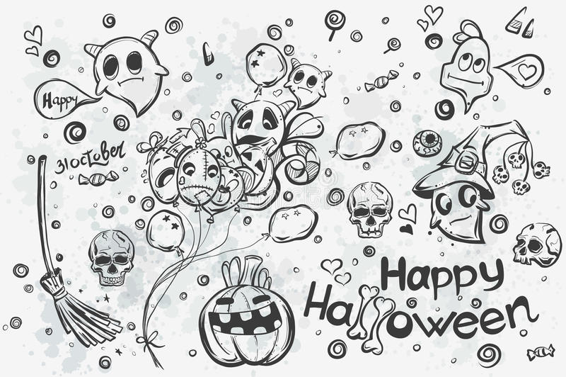 Garabatos de Halloween - ejemplo del vector libre illustration