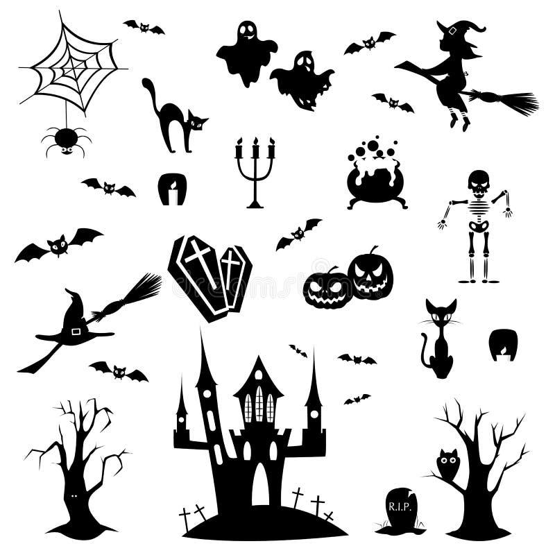 Garabatos de Halloween fijados ilustración del vector