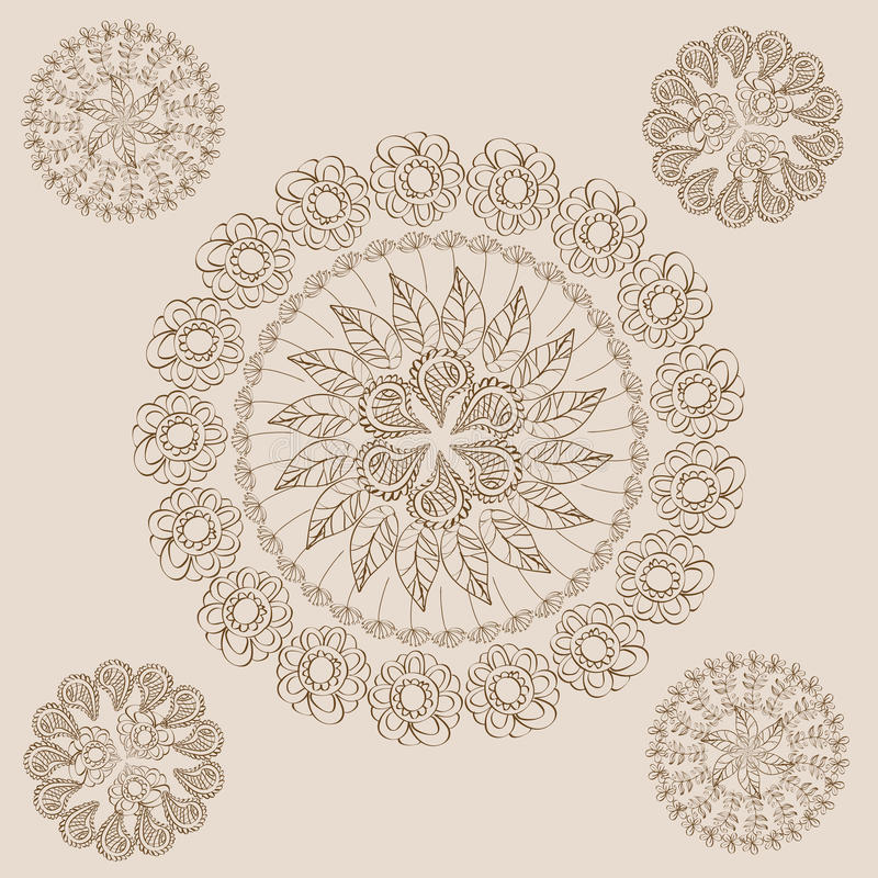 Garabatos de Henna Paisley Flowers Mehndi Tattoo libre illustration