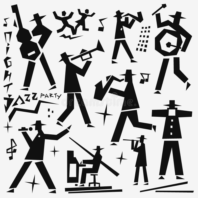 Garabatos de la banda de jazz stock de ilustración