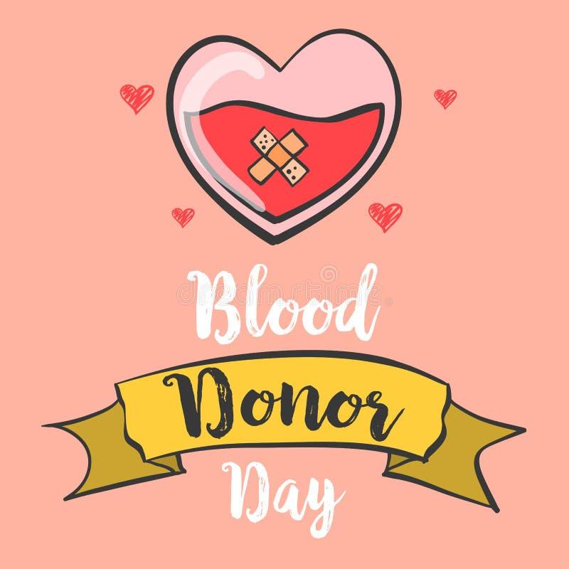 Garabatos de la colección del drenaje de la mano del día del donante de sangre stock de ilustración