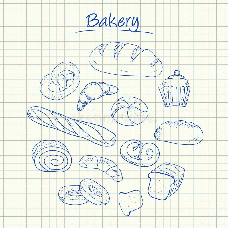 Garabatos de la panadería - papel ajustado ilustración del vector