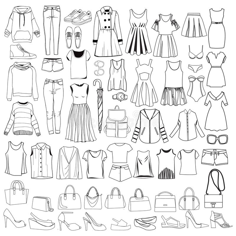 Garabatos de la ropa y de los accesorios, mano de las mujeres de moda dibujada stock de ilustración