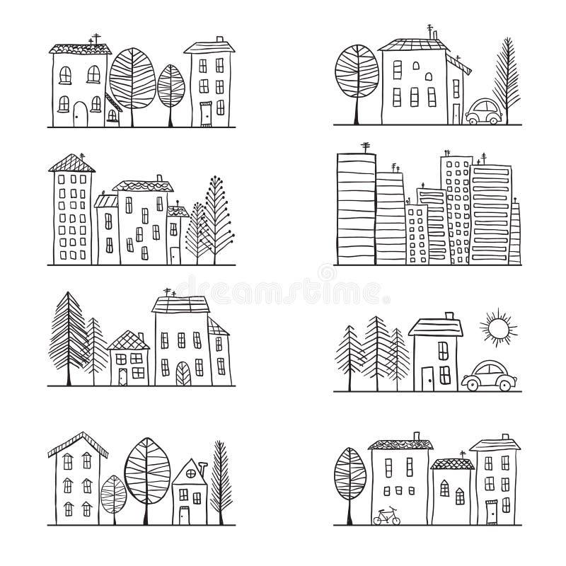 Garabatos de las casas stock de ilustración