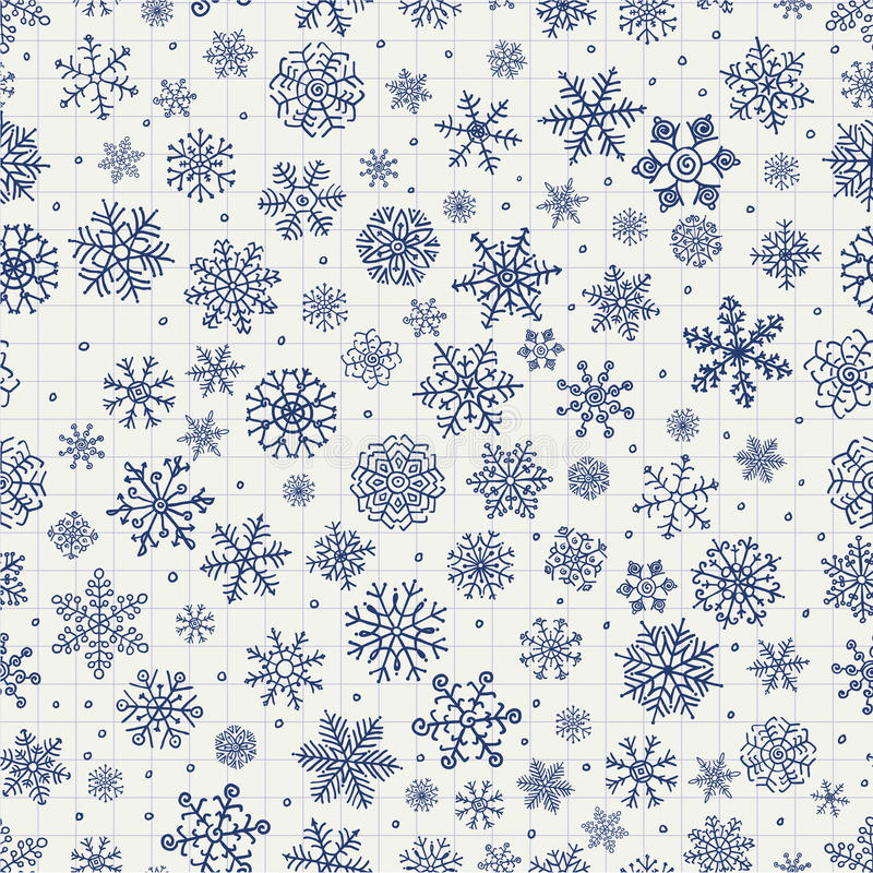 Garabatos de las escamas de la nieve del invierno libre illustration