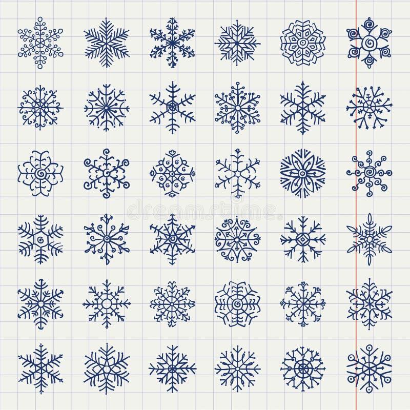 Garabatos de las escamas de la nieve del invierno ilustración del vector