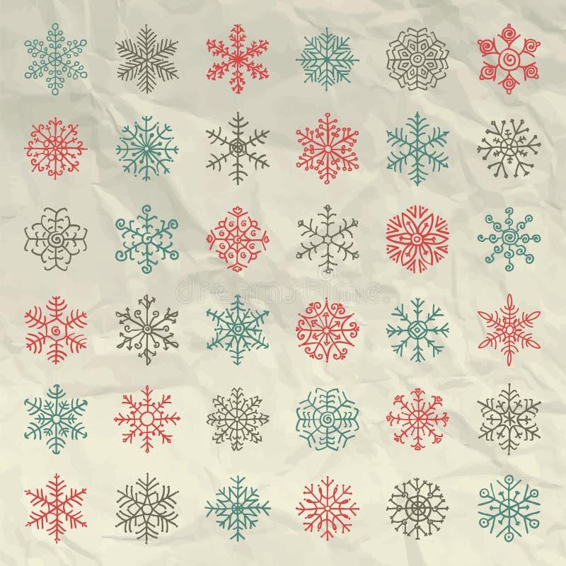 Garabatos de las escamas de la nieve del invierno del vector en arrugado ilustración del vector