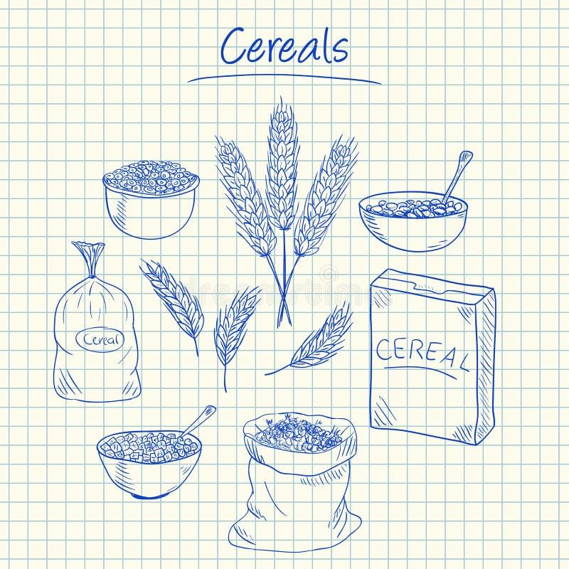 Garabatos de los cereales - papel ajustado libre illustration