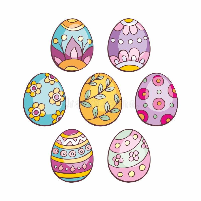 Garabatos de los huevos de Pascua fijados ilustración del vector