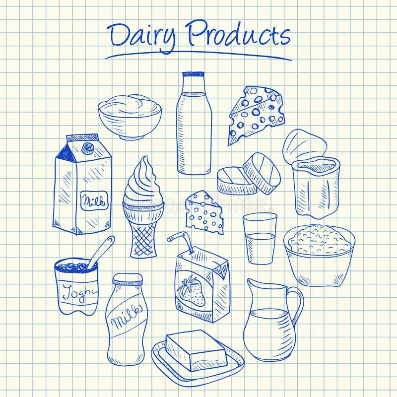 Garabatos de los productos lácteos - papel ajustado ilustración del vector