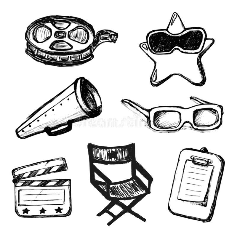 Garabatos del cine. Iconos del vector stock de ilustración