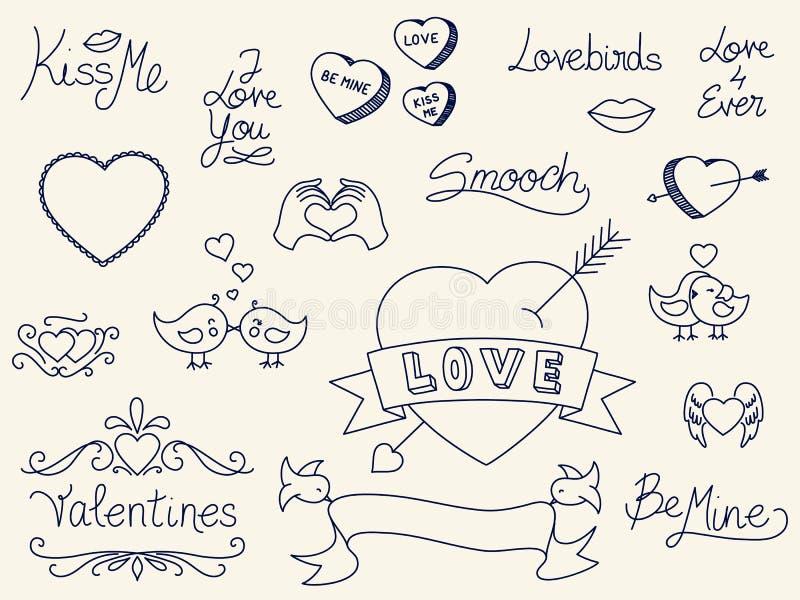 Garabatos del día de tarjeta del día de San Valentín stock de ilustración