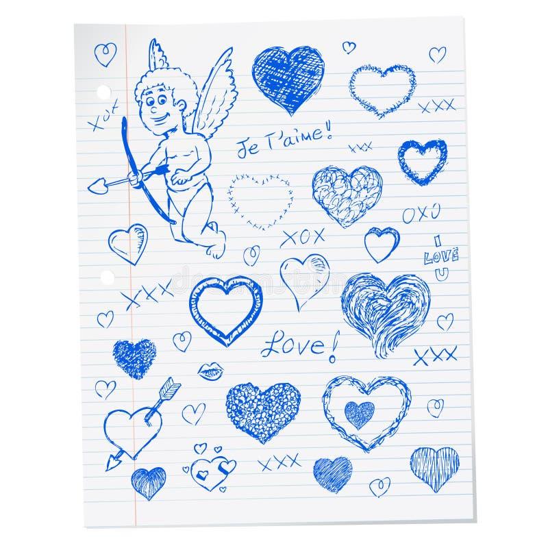 Garabatos del día de tarjeta del día de San Valentín dibujada mano ilustración del vector