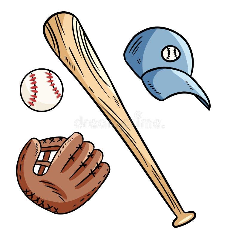 Garabatos del guante del béisbol, del bate de béisbol, del sombrero y del catchig Sistema de imagen exhausto de la mano libre illustration