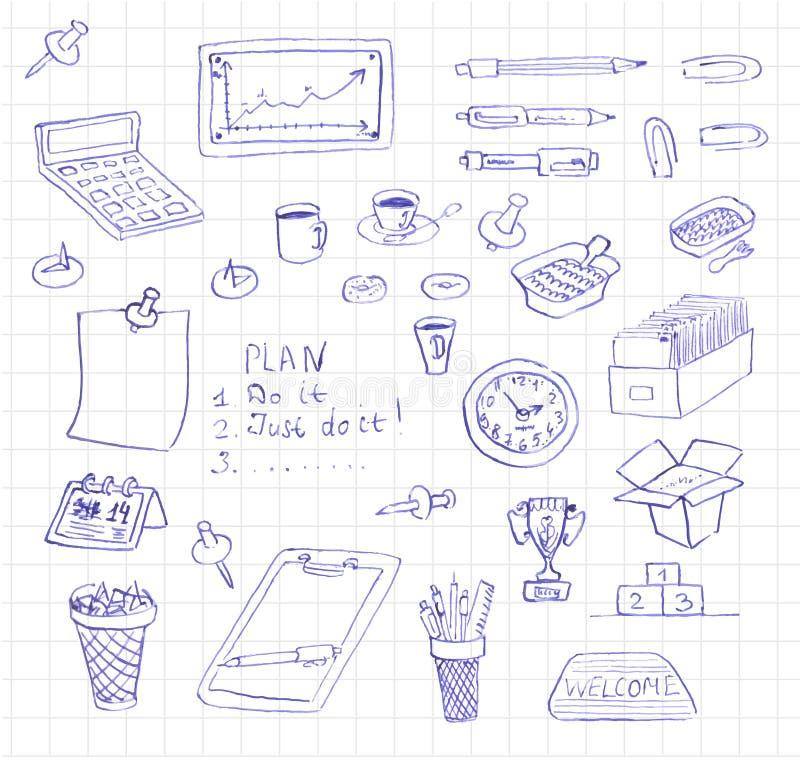 Garabatos del icono del negocio y de la oficina del vector ilustración del vector