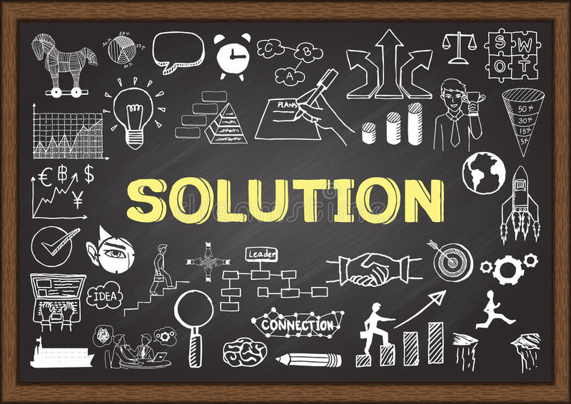 Garabatos del negocio en la pizarra con concepto de la solución libre illustration