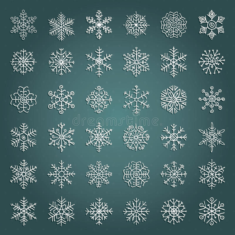 Garabatos dibujados mano blanca de las escamas de la nieve del invierno del vector ilustración del vector
