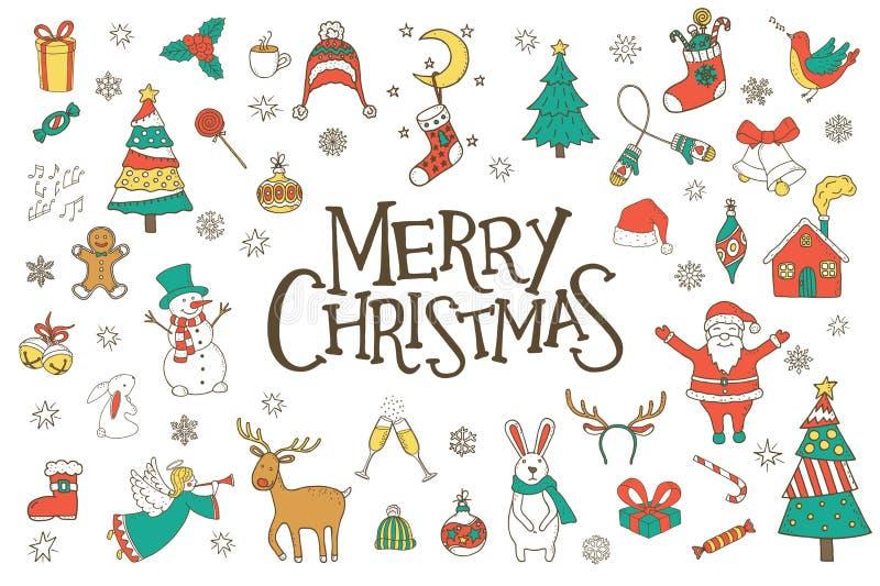 Garabatos dibujados mano de la Navidad fijados stock de ilustración