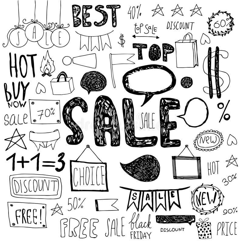 Garabatos dibujados mano de la venta stock de ilustración