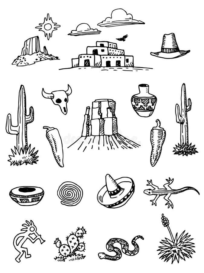 Garabatos a mano del desierto ilustración del vector