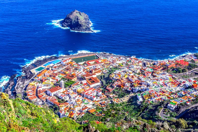Garachico, Tenerife, Canary islands, Spain: Overview of the col royalty free stock images